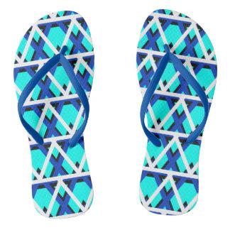Bright Aqua Blue Geometric Flip Flops