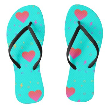 Beach Themed Bright Aqua Blue Heart Flip Flops