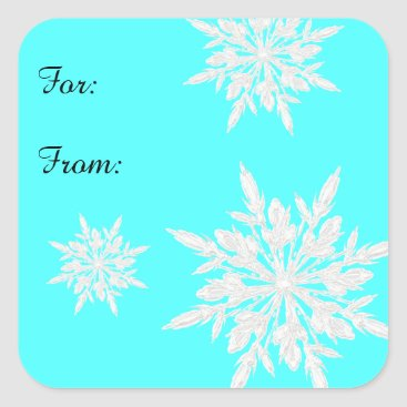 Christmas Themed Bright Aqua Blue Ice Crystals Gift Tag Sticker