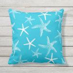 Bright Aqua Blue Sea Stars Sofa Pillow