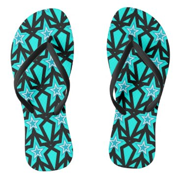 Beach Themed Bright Aqua Blue Star Pattern Flip Flops