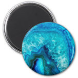 Bright Aqua Blue Turquoise Geode Mineral Stone 2 Inch Round Magnet