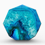 """Bright Aqua Blue Turquoise Geode Mineral Stone Acrylic Award<br><div class=""""desc"""">Stones and minerals are a hot new trend for the year!  This print features and up close image of a vibrant blue geode stone,  complete with little crystals.</div>"""