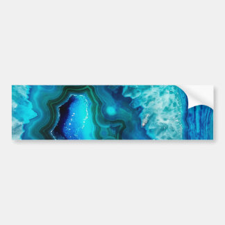 Bright Aqua Blue Turquoise Geode Mineral Stone Bumper Sticker