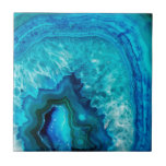 """Bright Aqua Blue Turquoise Geode Mineral Stone Ceramic Tile<br><div class=""""desc"""">Stones and minerals are a hot new trend for the year!  This print features and up close image of a vibrant blue geode stone,  complete with little crystals.</div>"""