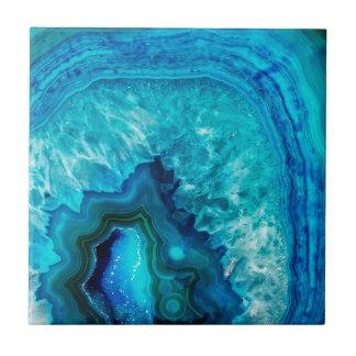 Bright Aqua Blue Turquoise Geode Mineral Stone Ceramic Tile