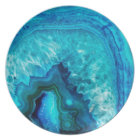Bright Aqua Blue Turquoise Geode Mineral Stone Dinner Plate