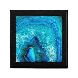 Bright Aqua Blue Turquoise Geode Mineral Stone Gift Box
