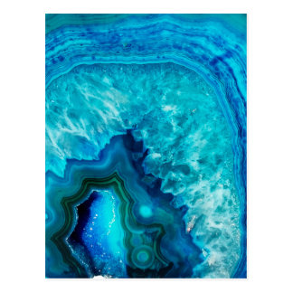 Bright Aqua Blue Turquoise Geode Mineral Stone Postcard