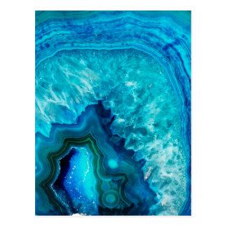 Bright Aqua Blue Turquoise Geode Mineral Stone Postcard