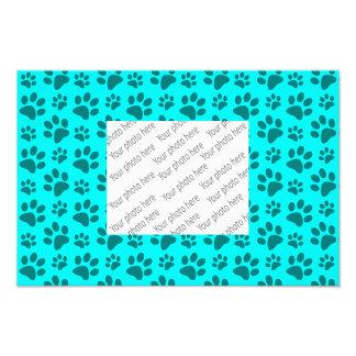 Bright aqua dog paw print pattern photo print