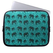 Bright aqua elephant glitter pattern laptop sleeve