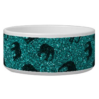 Bright aqua elephant glitter pattern dog bowls