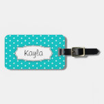 Bright Aqua Flower Polka Dots Named Luggage Tag at Zazzle