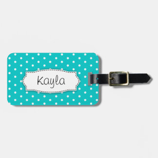 Bright aqua flower polka dots named luggage tag