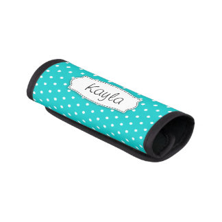 Bright aqua flower polka dots named luggage wrap
