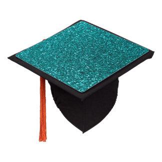 Bright aqua glitter graduation cap topper