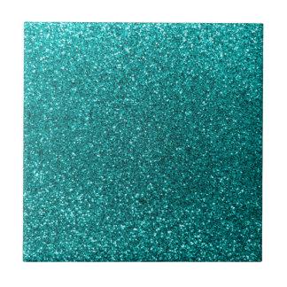 Bright aqua glitter tiles