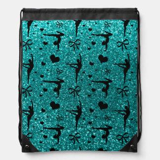 Bright aqua gymnastics glitter pattern drawstring backpack
