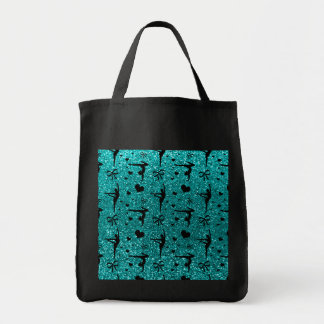 Bright aqua gymnastics glitter pattern tote bag