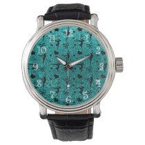 Bright aqua gymnastics glitter pattern wrist watches