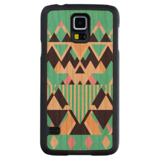 Bright Aqua Native Pattern Carved® Cherry Galaxy S5 Slim Case