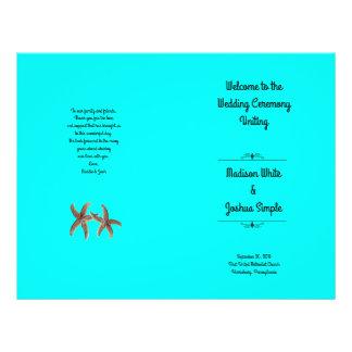 Bright Aqua Starfish Couple Wedding Programs