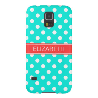 Bright Aqua White Polka Dots #2 Coral Red Monogram Galaxy S5 Covers