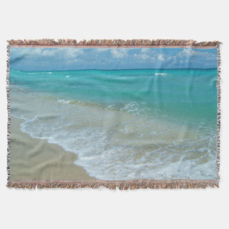 Bright Aqua White Waves Crashing on Beach Shore Throw