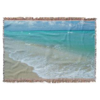 Bright Aqua White Waves Crashing on Beach Shore Throw