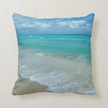 Bright Aqua White Waves Crashing on Beach Shore Throw Pillow