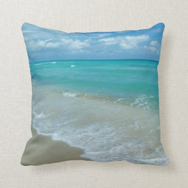 Beach Themed Bright Aqua White Waves Crashing on Beach Shore Throw Pillow