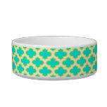 Bright Aqua, Yellow, White Quatrefoil Pattern #3 Cat Bowl