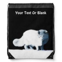 Bright Arctic Fox Drawstring Bag