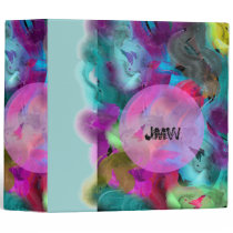 Bright Artistic Paint Strokes Personalized 3 Ring Binder