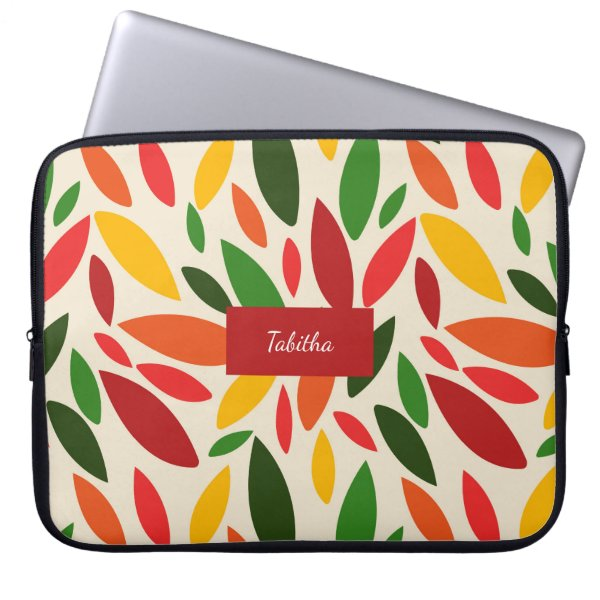 Bright Autum fall leaves monogram Laptop Sleeve