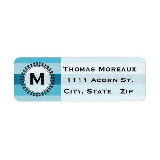Bright Awnings Blue Monogram Return Address Labels