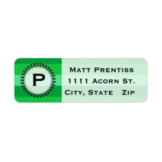 Bright Awnings Green Monogram Address Labels