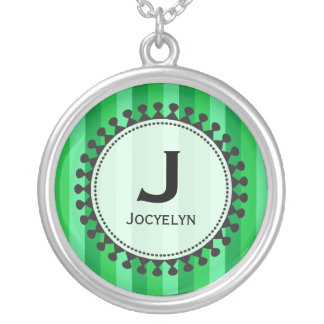 Bright Awnings Green Monogram Necklace