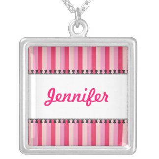 Bright Awnings Pink Name Necklace