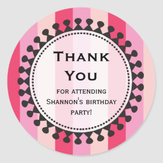 Bright Awnings Pink Thank You Sticker