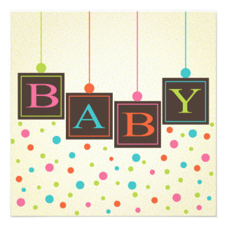 Bright BABY Blocks of Colors Neutral Baby Shower Personalized Invitations