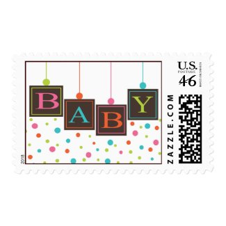 Bright BABY Blocks of Colors Neutral Baby Shower Postage