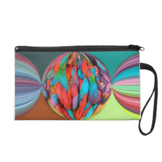 Bright Ball Of Multi-Color Yarn Skeins Wristlet