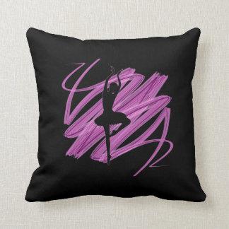 Bright ballerina dancer throw pillows