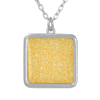 Bright Banana Yellow Faux Glitter Silver Plated Necklace