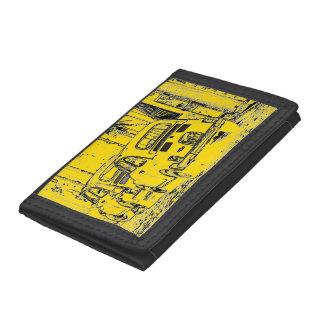 bright banana yellow urban comic cartoon car trifold wallet