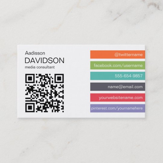 Bright bar qr code social media business card zazzle bright bar qr code social media business card colourmoves