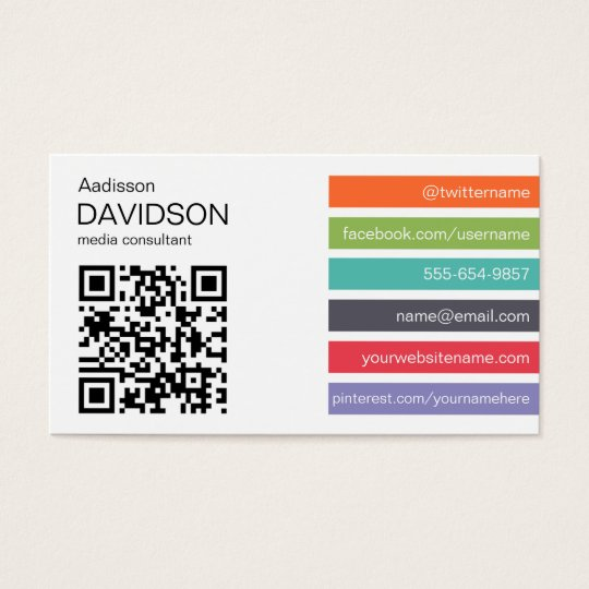 Bright bar qr code social media business card zazzle bright bar qr code social media business card reheart Choice Image