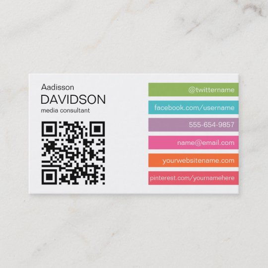 Bright Bars 2 Qr Code Social Media Business Card Zazzle